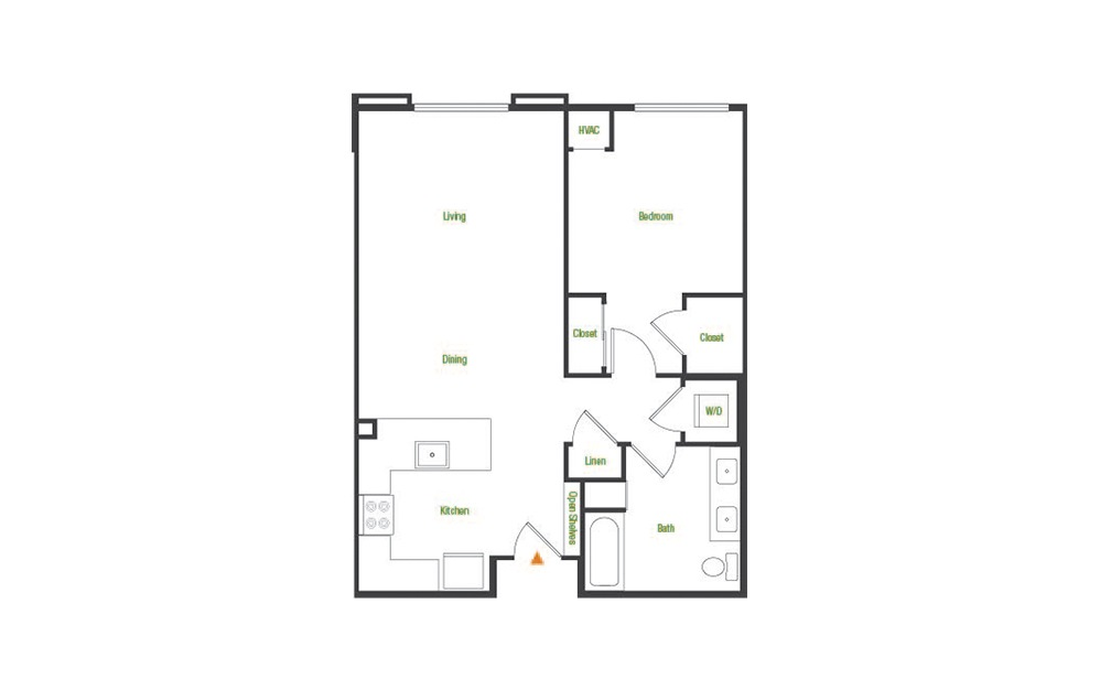A4 - 1 bedroom floorplan layout with 1 bath and 780 square feet.
