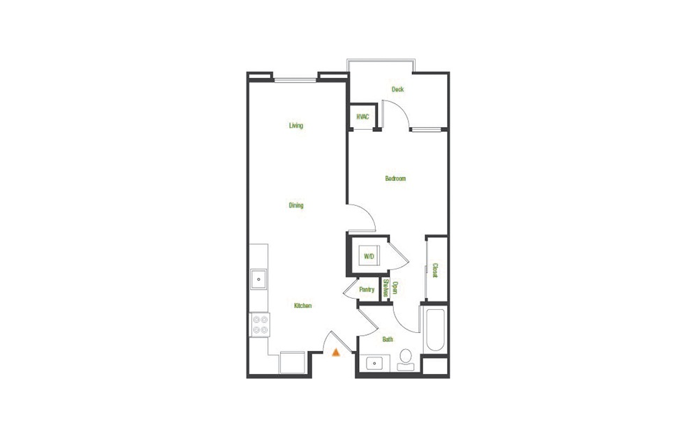 A5 - 1 bedroom floorplan layout with 1 bath and 538 to 614 square feet.