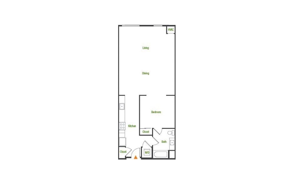 A6-A - 1 bedroom floorplan layout with 1 bath and 902 square feet.