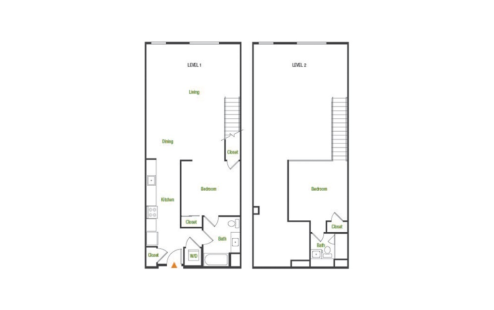A7 - 1 bedroom floorplan layout with 1 bath and 1112 square feet.
