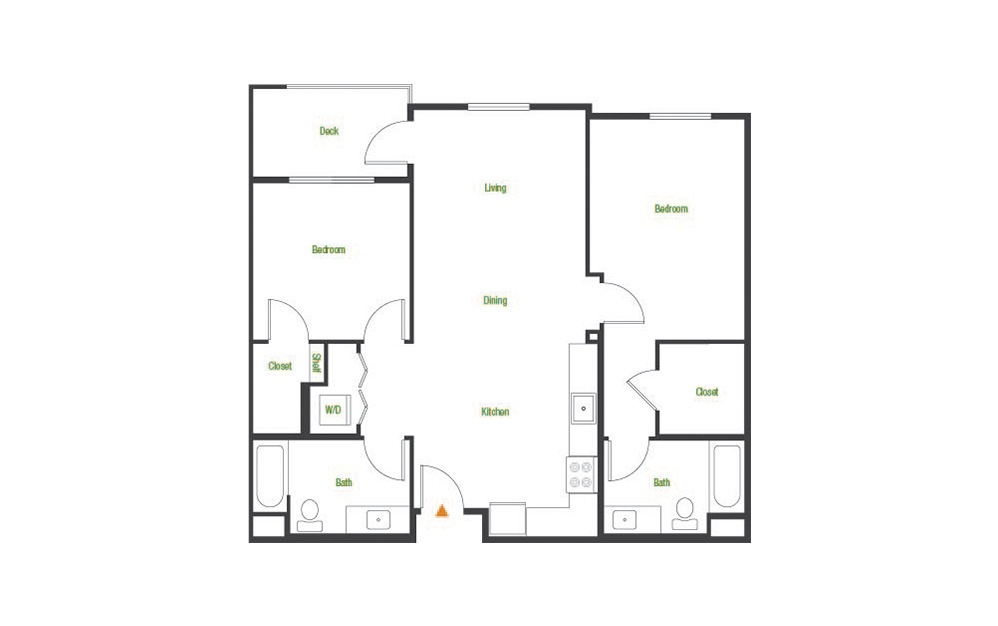 B1 - 2 bedroom floorplan layout with 2 baths and 1038 square feet.