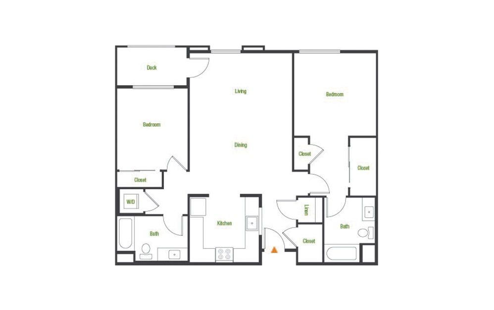 B4-A - 2 bedroom floorplan layout with 2 baths and 1151 square feet.